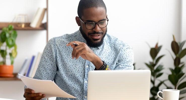 A man reviews career opportunities online