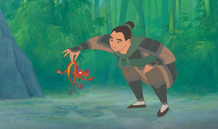Mulan picking up Mushu