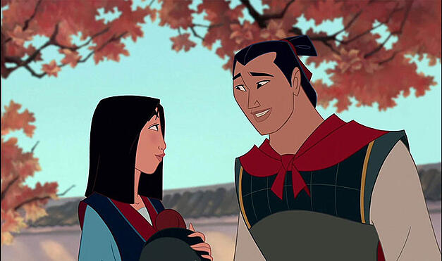 Mulan talking with the captain