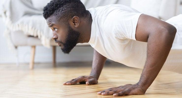 man does push-ups