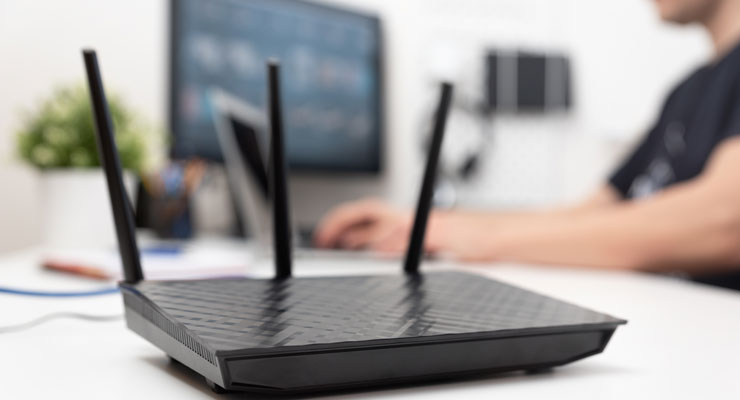 black cybersecurity router providing firewall for remote worker