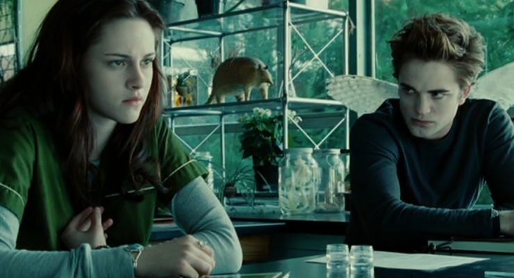 Bella feeling inadequate as Edward stares her down which hinders professional development.