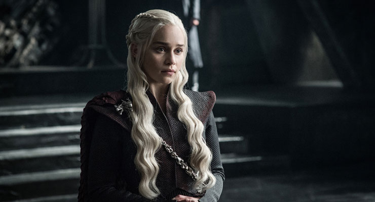 Daenerys Targaryen standing in a castle from Game of Thrones