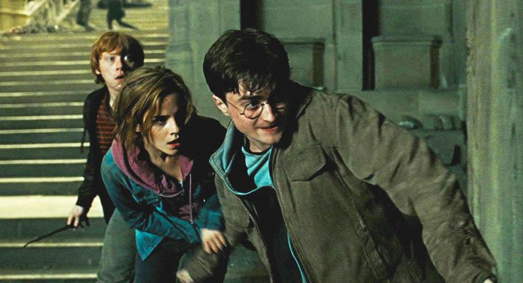 Dumbledore knows that creativity is key to defeating Lord Voldemort. Just think of the puzzle-solving it takes to destroy some of his horcruxes! Above: Harry (Daniel Radcliffe), Hermione (Emma Watson), and Ron (Rupert Grint) brandish their wands. Photo credit: Warner Brothers