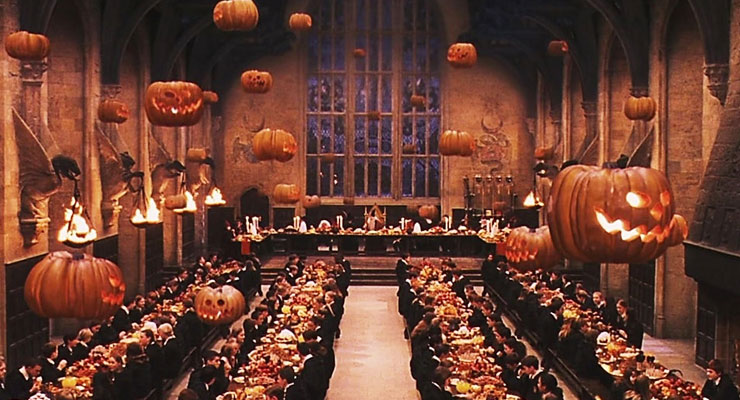 Halloween is an important time at Hogwarts School of Witchcraft and Wizardry, which decorates with everything from suspended jack-o'-lanterns to live bats. Photo credit: Warner Brothers